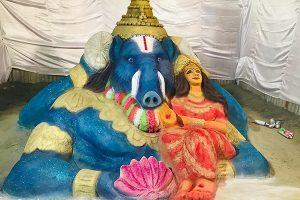 Sand sculpture of Lakshmi varahaswamy