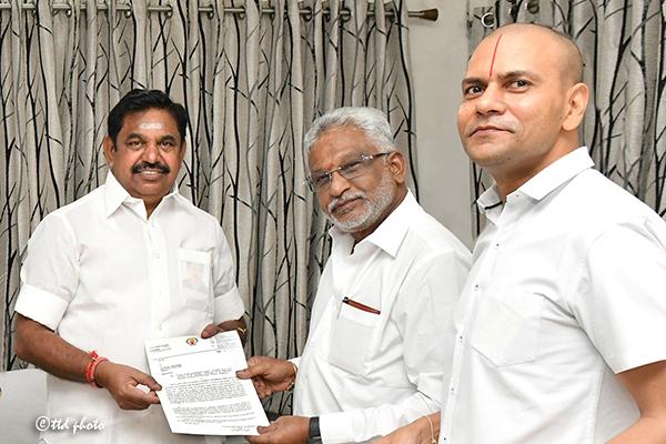 TTD CHAIRMAN INVITES TN CM FOR BHOOMIPOOJA