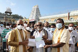 donated Rs.one crore towards the construction of Sri Venkateswara Swamy temple in his constitution at Ulundurpeta